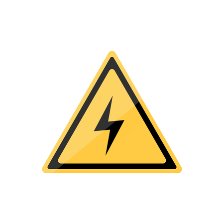 Voltage warning triangle sign. Flat icon illustration