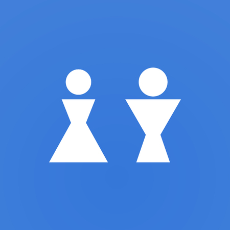 White geometric gender signs on blue background. Illustration