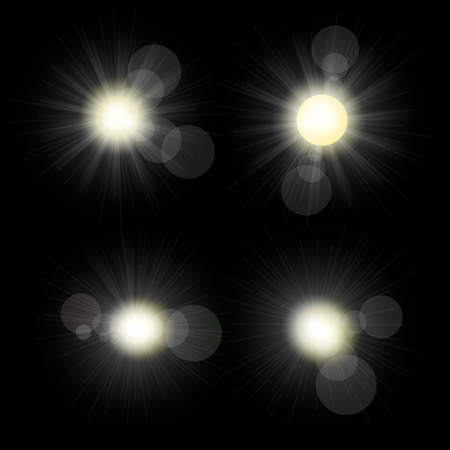 Sunlight set illustration. Collection of star bursts and flares Illustration