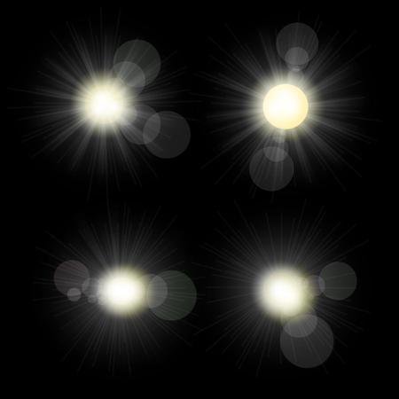 Sunlight set illustration. Collection of star bursts and flares Illusztráció