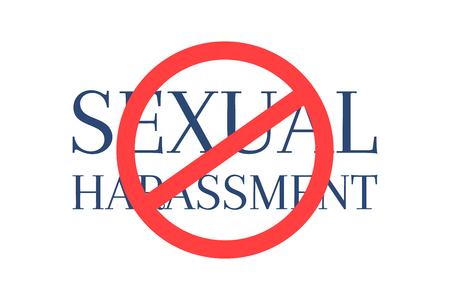 Stop sexual harassment text crossed by circular ref sign Imagens - 90274808