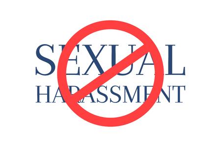 Stoppen Sie den Text der sexuellen Belästigung, der durch das kreisförmige Hinweiszeichen gekreuzt wird