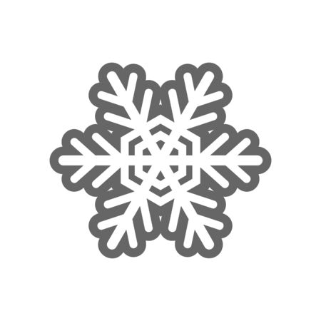 Winter snowflake black silhouette icon isolated on background