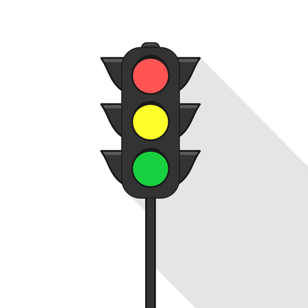 Traffic light close up icon. Flat illustration Illustration