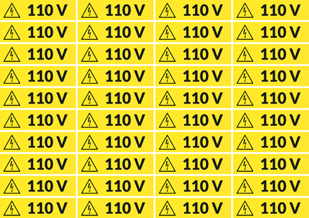 Set of 110 volt main voltage sticker for printing on A4 Reklamní fotografie - 91003305