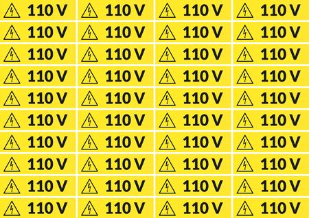 Set van 110 volt hoofdspanningssticker voor afdrukken op A4