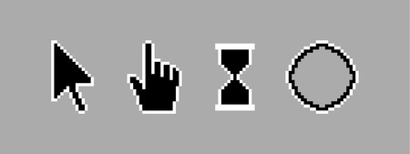 Old style black pixel cursor icon illustration.