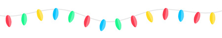 Horizontal seamless colorful paper christmas garland banner illustration