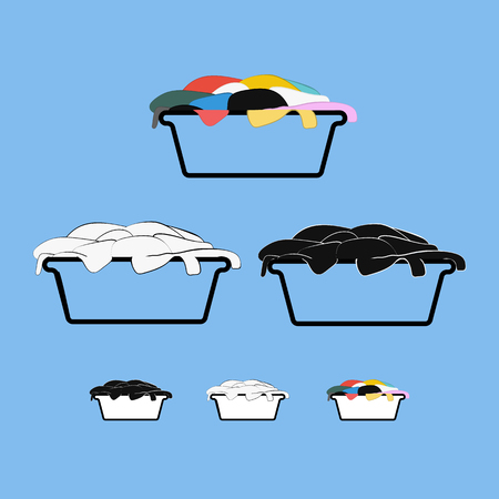 Set of black, white and color dirty laundry baskets label tags design for household chemistry