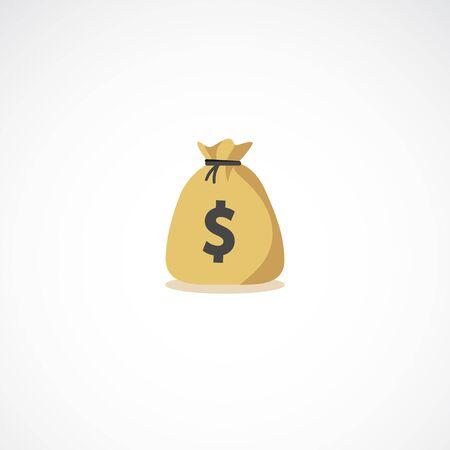 Moneybag sign. Full coins money bag icon illustration