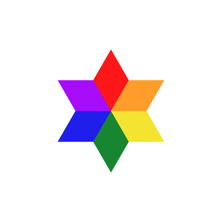 The six-pointed star with LGBT colors. Pride symbol