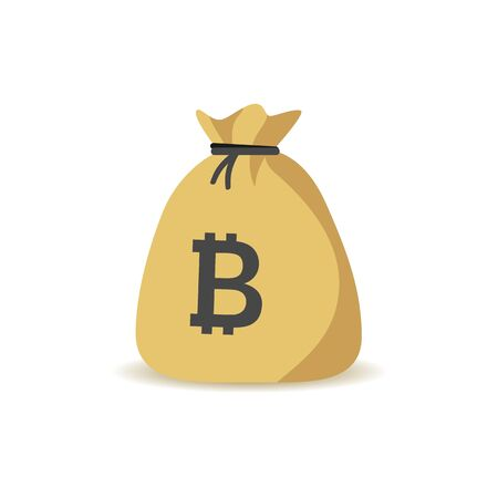 Bitcoin currency earning money bag icon illustration.