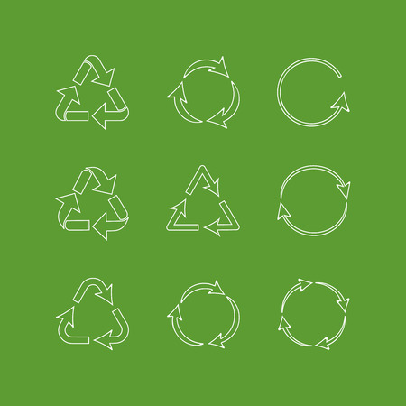 Collection of outlined recycling signs isolated on green background Ilustrace