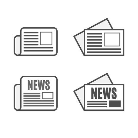 UI newspaper icon set isolated on white background
