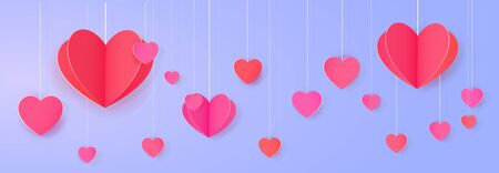 Hanging paper heart banner. Bright love festoon Ilustração