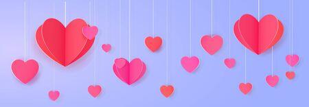Hanging paper heart banner. Bright love festoon Illustration