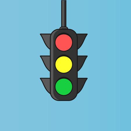 Hanged traffic light sign. Flat icon illustration