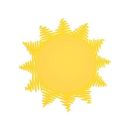 Simple outlined yellow sun doodle icon illustration