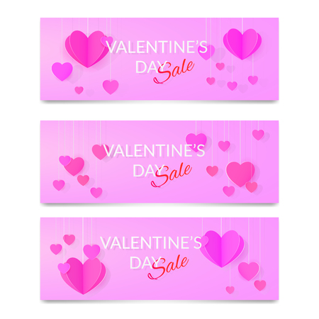 Set of St. Valentines day fiaways sale banners
