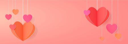 Bright festive banner with paper hearts vector illustration Ilustração