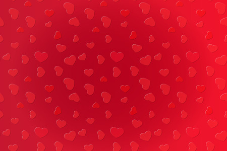 Saturated love background with red scattered hearts