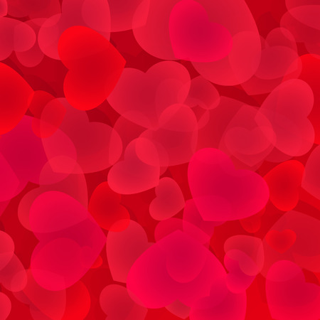Bright red hearts background. Love backdrop illustration