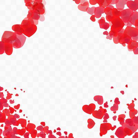 Set of heart corners on transparent background Illustration