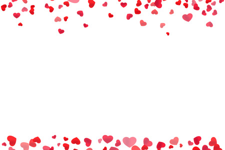 Red heart line frame for header and footer design