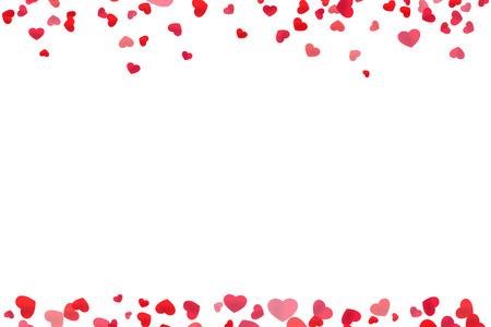 Red heart line frame for header and footer design Banco de Imagens - 93128069