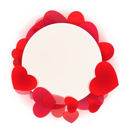 Bright love background. Red vivid hearts for greeting design