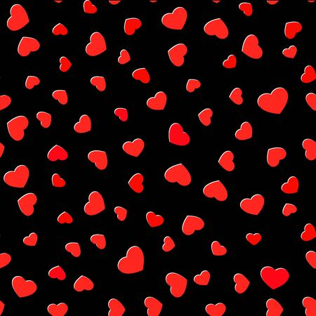 Seamless hearts pattern. Love symbol on black background
