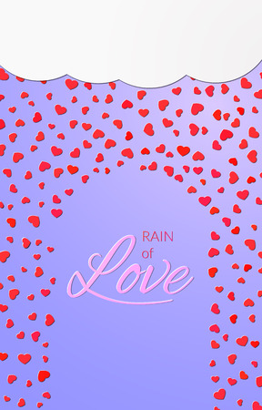 Bright rain of love card design background Illustration