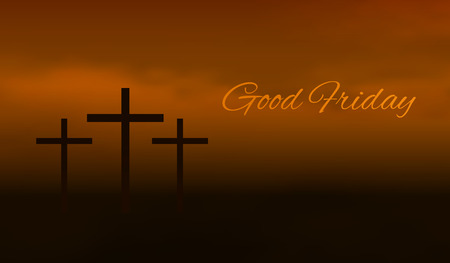 Good friday background. Silhouette of three cross crucifix in a fog Vettoriali