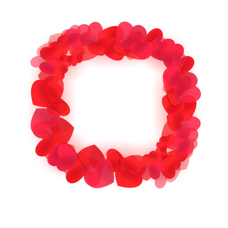 Bright heart frame. Love sign wreath for edging and design
