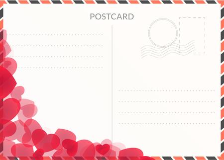 Festive travel postcard illustration with hearts. Postal background Иллюстрация