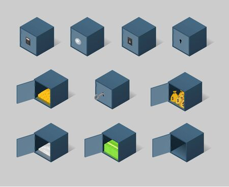 Isometric safe set. Closed and opened metal boxes with gold, cash, money and securities Illustration