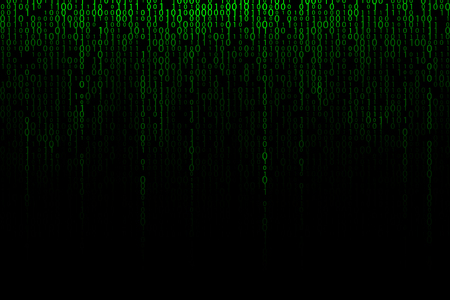 Green falling digits background. Binary backdrop illustration
