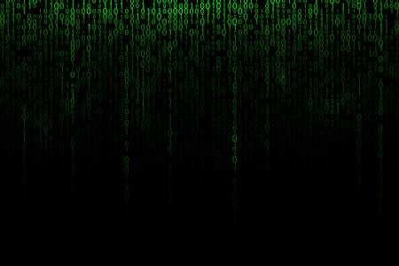 Green falling digits background. Binary backdrop illustration