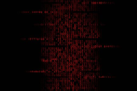 Red infected binary code illustration. Hacker access illustration
