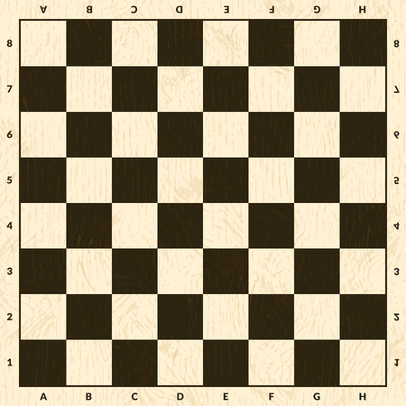 Chess game board. Wooden checkerboard background illustration
