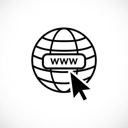 www internet icon favicon with arrow mouse cursor Illustration