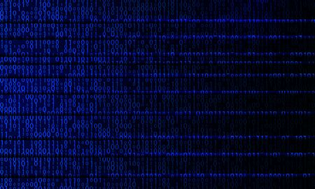 Blue digital binary lines. Virtual reality code background