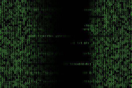 Green matrix backdrop. Digital binary code illustration Illustration