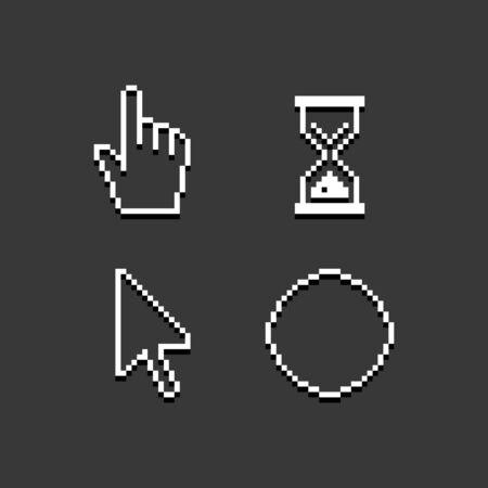 Light pixel cursors set. Desktop mouse icons illustration Illustration