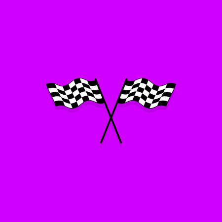 Crossed checkered flags. Finish user interface race icon Illustration