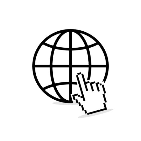 Internet icon with globe or earth and hand cursor, vector illustration on white background.