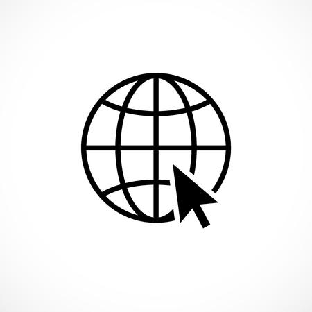 Internet icon with black computer arrow cursor Illustration