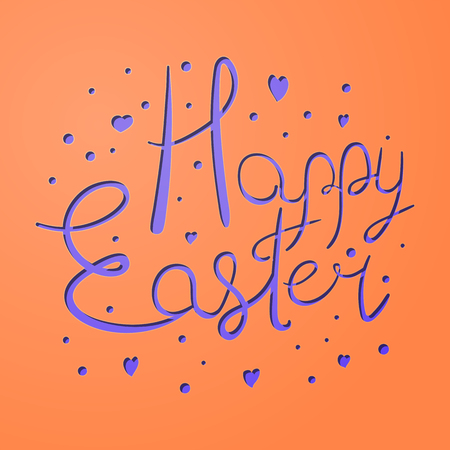 Vivid festive paper cut Easter Holiday card illustration.