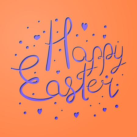 Vivid festive paper cut Easter Holiday card illustration.