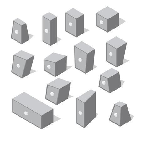 Isometric different shape safes. Set on secure metal boxes. Illustration
